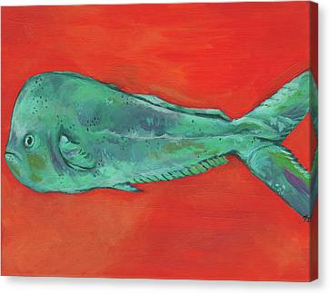 Fish And Orange Canvas Print by Anne Seay