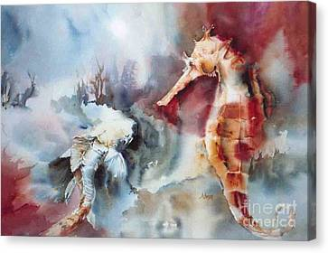 Fish And Sea Horse Canvas Print by Donna Acheson-Juillet