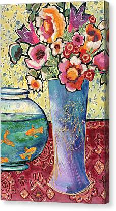 Canvas Print - Fish Bowl And Posies by Diane Fine
