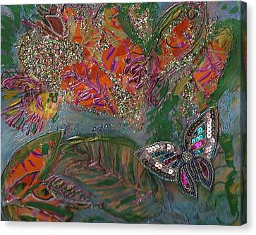 Fish Dream Of Flying Butterfly Dreams Of Swimming Canvas Print by Anne-Elizabeth Whiteway