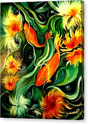 Canvas Print featuring the painting Fish Explosion by Yolanda Rodriguez