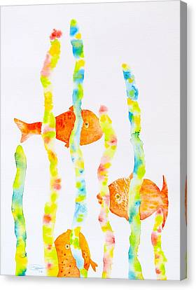 Canvas Print featuring the painting Fish Fun by Michele Myers