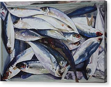 Canvas Print featuring the painting Fish by Helal Uddin