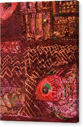 Fish In A Maze Of Nets Canvas Print by Anne-Elizabeth Whiteway