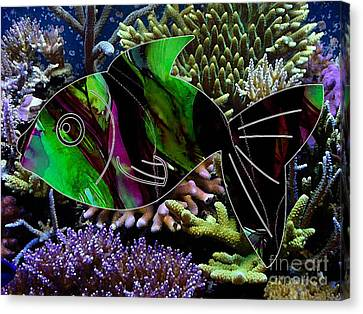 Fish In The Coral Reef Canvas Print by Marvin Blaine