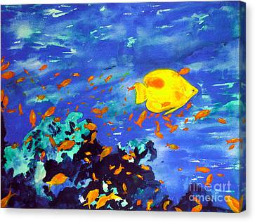 Canvas Print featuring the painting Fish In The Sea by Mukta Gupta