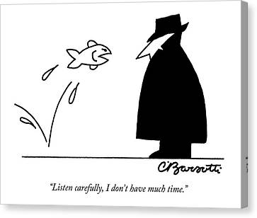 Trenches Canvas Print - Fish Informant Jumps Toward Man In Trench Coat by Charles Barsotti