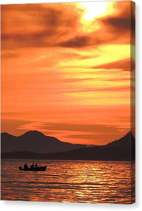 Fish Into The Sunset Canvas Print by Karen Horn