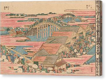 Fish Market By River In Edo At Nihonbashi Bridge  Canvas Print by Hokusai
