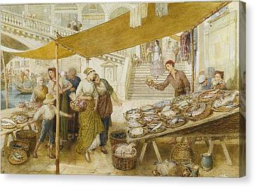 Fish Market On The Steps Of The Rialto Canvas Print by Myles Birket Foster