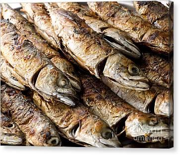 Restauraunt Canvas Print - Fish On Grill by Sinisa Botas