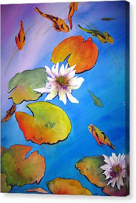 Canvas Print featuring the painting Fish Pond I by Lil Taylor