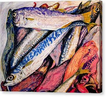 fish squid California painting Canvas Print