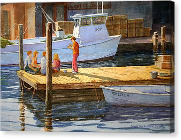Fish Tales At Cortez Canvas Print by Roger Rockefeller