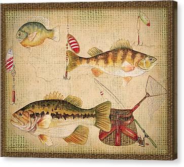 Fish Trio-a-basket Weave Border Canvas Print