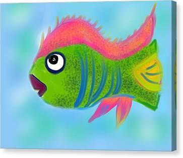 Canvas Print featuring the digital art Fish Wish by Christine Fournier
