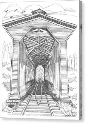 Historic Site Canvas Print - Fisher Railroad Covered Bridge by Richard Wambach