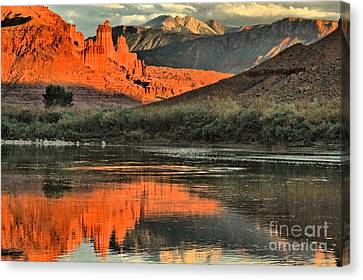 Fisher Towers In The Colorado Canvas Print by Adam Jewell