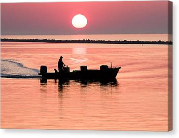 Fisherman At Sunrise Apalachicola Bay Florida  Canvas Print by Bill Swindaman