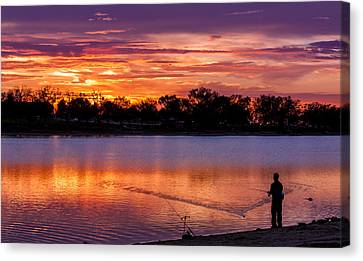 Fisherman At Sunrise Canvas Print