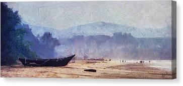 Fisherman Boat On The Goan Coast. India Canvas Print by Jenny Rainbow