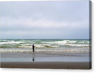Fisherman Bracing The Weather Canvas Print by Tikvah's Hope