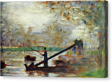 Fisherman In A Moored Boat Canvas Print by Georges Seurat