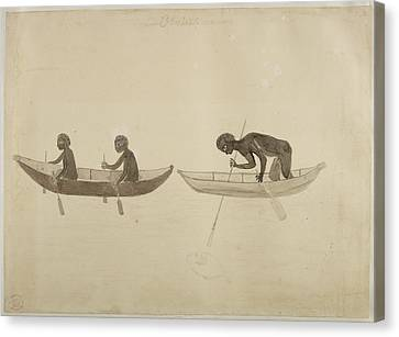 Fisherman In Small Wooden Canoes Canvas Print by British Library