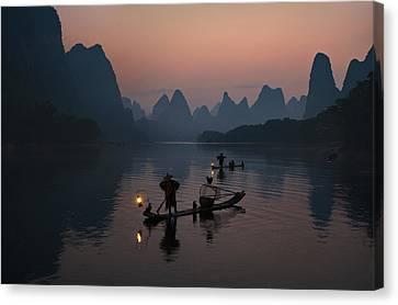 Fisherman Of The Li River Canvas Print