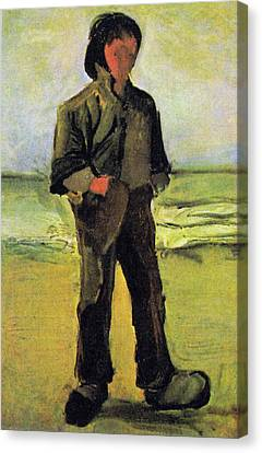 Fisherman On The Beach Canvas Print by Vincent Van Gogh