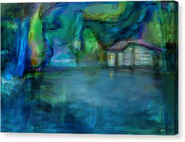 Canvas Print featuring the digital art Fishermans Hut by Martina  Rathgens
