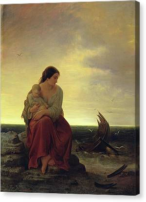 Lost At Sea Canvas Print - Fishermans Wife Mourning On The Beach Oil On Canvas by Julius Muhr