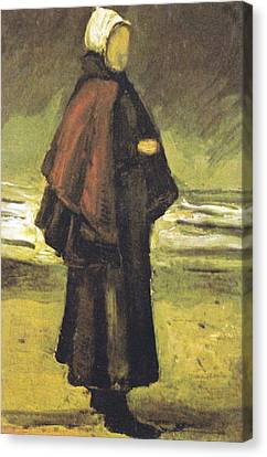 Fishermans Wife On The Beach Canvas Print by Vincent Van Gogh