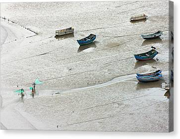 China Beach Canvas Print - Fishermen Carrying Fish Net And Fishing by Keren Su