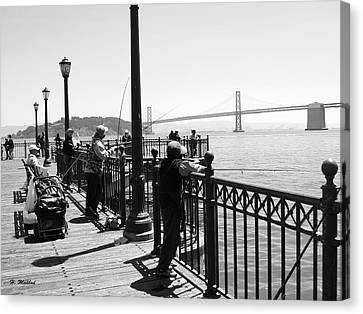 Canvas Print featuring the photograph San Francisco - Fishing At The Pier by Haleh Mahbod
