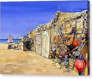 Fishermen's Huts At San Miguel Canvas Print by Margaret Merry
