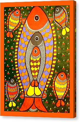 Fishes-madhubani Painting Canvas Print