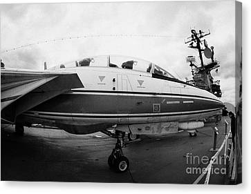 fisheye shot of Grumman F14 on the flight deck of the USS Intrepid Canvas Print