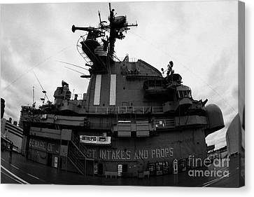 fisheye shot of the Flight deck island and bridges of the USS Intrepid at the Intrepid Sea Air Space Canvas Print by Joe Fox
