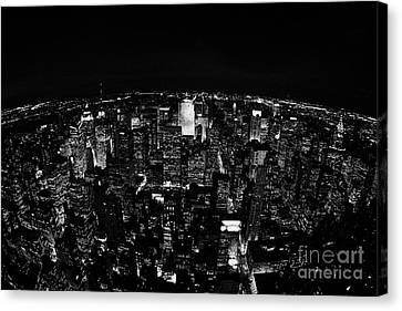 Fisheye View North At Night Towards Central Park New York City  Canvas Print by Joe Fox