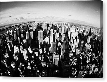 Fisheye View North Towards Central Park Manhattan New York City Usa Canvas Print by Joe Fox