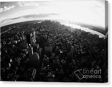 Fisheye View Of Sunset Over Lower Manhattan And Hudson River New York City Canvas Print by Joe Fox