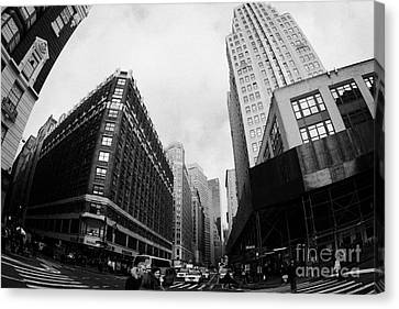 Crosswalk Canvas Print - Fisheye View Of The Herald Square Building And Cross Walks Over Broadway New York by Joe Fox