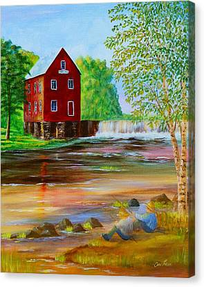Fishin' At The Old Mill Canvas Print by Chris Fraser
