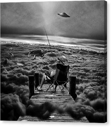 Fishing Above The Clouds Grayscale Canvas Print by Marian Voicu