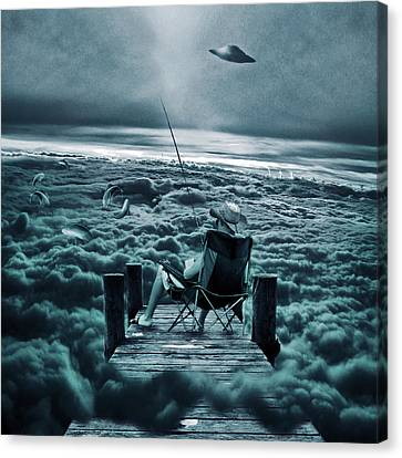 Beautiful Scenery Canvas Print - Fishing Above The Clouds by Marian Voicu