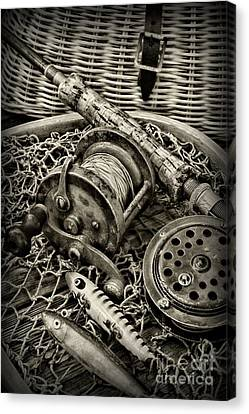 Fishing - All That Gear In Black And White Canvas Print by Paul Ward