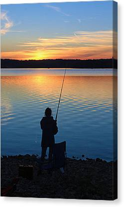 Fishing At Dusk Canvas Print by Lorna Rogers Photography