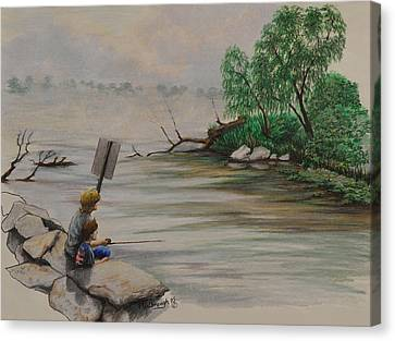 Willow Lake Canvas Print - Fishing At Lake Palourde by Peter E Malbrough