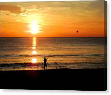 Fishing At Sunrise Canvas Print